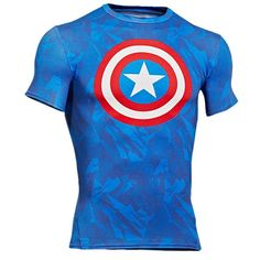 Under Armour Super Hero Logo S/S Compression Top - Men's - Training - Clothing - Blue/Red/White