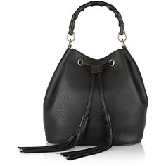Gucci Linea C textured-leather bucket bag (41,255 MXN) ❤ liked on Polyvore featuring bags, handbags, drawstring bucket bag, black bag, gucci handbags, drawstring bag and bamboo handbags