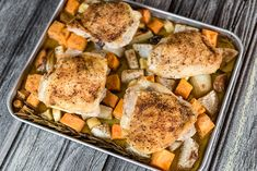 Sheet Pan Supper for Two: Chicken Thighs with Roasted Rosemary Root Vegetables