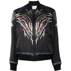 Iro printed bomber jacket (4.377.295 IDR) ❤ liked on Polyvore featuring outerwear, jackets, black, flight jacket, blouson jacket, zip front jacket, bomber style jacket and colorful jackets