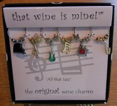 All That Jazz Collection of Painted Wine Charms from That Wine is Mine - 1400P by Wine Things Unlimited. $13.95. We offer more than 100 different sets of Charms!. From the Original - That Wine is Mine!. A Very Unique and Unusual  Gift for Wine Lovers. You will always know whose wine is whose. Set of Six Hand Painted Pewter Charms Tell You Whose Glass Is Whose. The ALL THAT JAZZ wine charm set is perfect for all the musicians and music lovers out there.   Since each se...