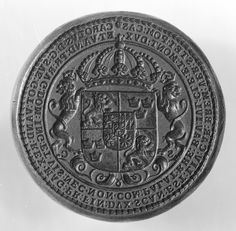 Sealstamp with the coat of arms of King Karl XI of Sweden (1655-1697) from1683, by Arvid_Karlsteen.