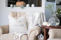 Fall home tour. Pumpkins. Modern Farmhouse. DIY fall pillows. Transfer print to fabric.