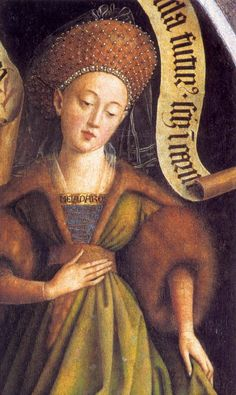 Hubert and Jan Van EYCK / The Ghent Altarpiece with wings closed (upper section): Cumaean Sibyl (detail)  1432  Oil on wood  Cathedral of St Bavo, Ghent