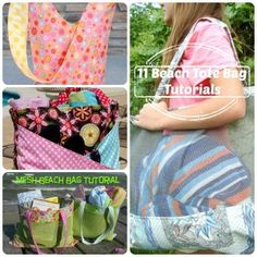 11 beach bags and tote tutorials / patchwork posse Beach Bag Tutorials, Sewing Tutorials, Sewing Projects, Fun Projects, Sewing Ideas, Diy Bags Purses, Diy Purse, Sew Bags, Tote Tutorial