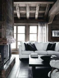 schicke wohnzimmer inspirationen für shabby wohnzimmer aus holz mit rustikalem kaminofen aus holz