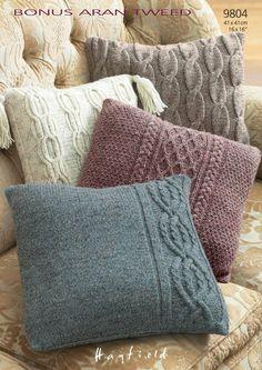 Cushion Covers In Hayfield Bonus Aran Tweed (9804)