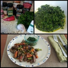 Homemade Chimichurri sauce (fresh parsley, cilantro..red pepper, himalayan sea salt, EVOO, red wine vinegar, fresh garlic, black pepper, red chile) and  sautéed Publix Greenwise top sirloin filet in coconut oil with seasonings and GreenGiant Steamers veggies (broccoli, carrots, red and yellow peppers) for a simple and delicious healthy #Whole30 approved stir fry!