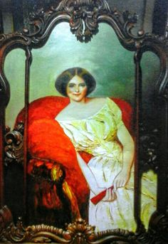 WOMAN ON THE RED SOFA, oil on canvas 70x100cm by artist Daniel de Quelyu