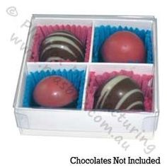 Chocolate Box Four Cavity with White Base and Clear Lid