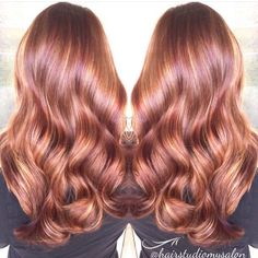 Exquisite red hair copper hair with flawless Hollywood hair waves by Amanda Howarth fb.com/hotbeautymagazine ombré balayage