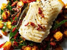 Pan seared cod with potatoes and chorizo Cook: 25 min Serves 4 400g fluffy potatoes (such as Maris Piper or King Edwards), peeled and cubed 4 x 150g cod loin steaks, skin on ​1 tbsp olive oil ​100g chorizo, finely chopped ½ tsp smoked paprika 1 red pepper, cut into thin strips 150g rainbow chard or spinach, roughly chopped Preheat your oven to 180C/gas mark 4. Bring a saucepan of water to the boil, add the cubed potatoes and cook until tender, then drain.