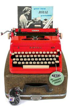1957 Red Royal Quiet De Luxe Typewriter / Professionally Serviced / Royal Typewriter / Working Typewriter / Red Typewriter / Writer Gift by Retroburgh USD) Working Typewriter, Royal Typewriter, Antique Typewriter, Kelly Wearstler, Plywood Furniture, Radios, Nostalgia, Vintage Typewriters, Vintage Design