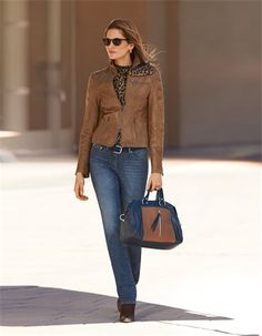 Leather jacket, nappa lamb, Sunglasses, Push-up jeans, Belt, Blouse, pure silk, Ankle boots, Handbag