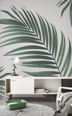 Tropical Palm Wall Mural Murals Wallpaper Falling in love with greenery This jungle wallpaper is an&; Tropical Palm Wall Mural Murals Wallpaper Falling in love with greenery This jungle wallpaper is an&; Wall Murals Bedroom, Living Room Murals, Living Room Wallpaper, Tree Bedroom, Mural Wall, Wall Art, Room Color Schemes, Room Colors, Wallpaper Corinthians