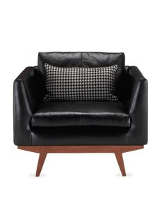 Arden Chair (Oxford Black Leather) by Benchmade by Brownstone at Gilt