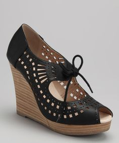 Take a look at this Black Mindy Peep-Toe Wedge by Restricted on #zulily today!