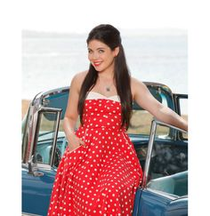 "Fashion loves this ""Teen Beach Movie"" inspired look: polka dot dress with lipstick to match #TeenBeachMovie"