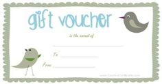 Free printable gift vouchers. Instant download. No registration required. Free Printable Coupons, Templates Printable Free, Printable Cards, Free Printables, Free Gift Certificate Template, Gift Card Template, Gift Certificates, Free Vouchers, Gift Vouchers