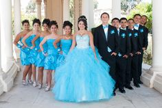 Quinceanera with her Damas and Chambelanes at Balboa Park