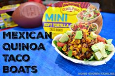 Mexican Quinoa Taco Boats - Easy Vegetarian recipe! Perfect for football party! #Gamedayfavorites