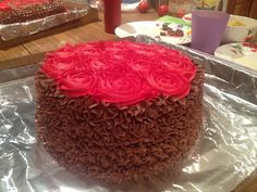 Chocolate Cake with Red Roses!