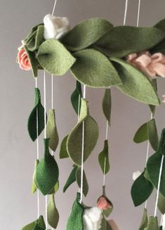 Flower chandelier nursery mobile is the perfect addition to any girls bedroom as a mobile or a beautiful addition to a reading corner; as featured in Glamour magazine - July 2017 issue. This light weight flower mobile, when delivered, is ready to hang. Hangs approximately 18 inches #feltflowers