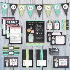 Mason Jar Baby Shower Printable Kit, INSTANT DOWNLOAD, Personalized Shower Set diy Custom Party Decorations, Personalized Chalkboard chevron
