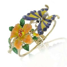 """Ever Faith 18K GP Butterfly Chomper Flower Bracelet Bangle Cuff Austrian Crystal Purple Insect Ever Faith. $16.95. Austrian Crystal (one of the best quality crystals in the world ). The bracelet measures approx. 6.5cm(2.56"""") by 5cm(1.97"""") inside diameter, and approx. 18.5cm(7.28"""") inside circumference.. This is a fashion style bracelet featured a big flower and a butterfly."""