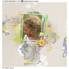 """My DD with daisies in her hair  All with The Early Bird {Catches The Worm} collection and Art Works Template 37 by Dawn Inskip http://shop.scrapbookgraphics.com/The-Early-Bird-Catches-The-Worm-Coll.html http://shop.scrapbookgraphics.com/Art-Works-Layered-Template-37.html"""
