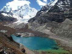 Siula Grande base camp in the Peruvian Andes