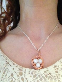 Cute and classy necklace made with plastic pearl beads, copper wire and a silver plated chain. Check it out please :) Copper Wire, Pearl Beads, Silver Plate, Egg, My Etsy Shop, Gold Necklace, Classy, Plastic, Bird