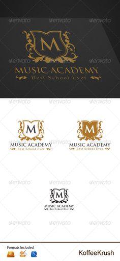 Music Academy Logo — Photoshop PSD #retro #swirl • Available here → https://graphicriver.net/item/music-academy-logo/5394153?ref=pxcr