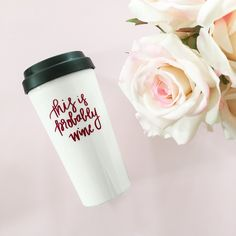 This is Probably Wine Travel Mug - 16oz. Our fun and sassy coffee travel mug says it all! Is it coffee in there or is it wine? We won't judge (just be safe on the go!)! ♥ 16oz Travel Mug ♥ Black Spill-Proof Lid ♥ Design on Front ♥ Plastic Interior + Exterior ♥ Hand Wash in Lukewarm Water.