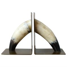 Beautiful Horn and Brass Bookends | From a unique collection of antique and modern bookends at http://www.1stdibs.com/furniture/more-furniture-collectibles/bookends/