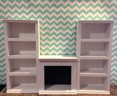 "NEW 2 tall shelf 1 fireplace unit white for by QueenEmmaDesigns, $85.003 piece UNIT. 2 tall shelves and one fireplace unit. GORGEOUS! Each tall shelf measures 20"" tall, by 9"" wide and 3 1/2"" deep. Fireplace measures 10 1/2"" wide, by 4 1/2"" deep, by 10"" tall."