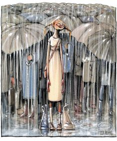 63 Trendy dancing in the rain painting umbrellas rainy days Rain Umbrella, Under My Umbrella, Walking In The Rain, Singing In The Rain, Rainy Night, Rainy Days, Rainy Mood, Arte Black, I Love Rain