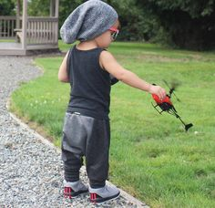 Tank top and Grey Heather Double Knit Harem Pants by Wee Monster.  www.weemonster.net