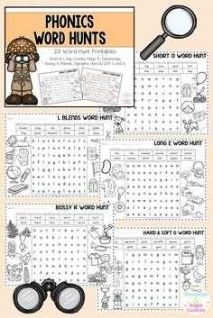 Here are 20 phonics word hunt printables that cover: short vowels, long vowels (ay, ai, a_e, ey, ea, ee, ight, ie, i_e, ow, o_e, oa, ui, ew, ue, u_e), magic e, diphthongs (oi, ou, oy, ow), bossy r, blends (r, l and s blends), digraphs (ch, sh, th, ph, wh) and hard & soft c and g