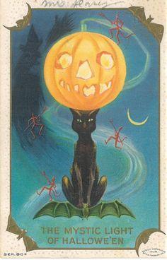 Vintage Halloween postcard- The Mystic Light with black cat and jack o'lantern