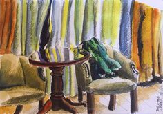 Day 246 - Table and chairs Back to drawing in my hotel room after a long day at work - just a simple view of the furniture, using watercolour, pencil and ink. Mon-5-Dec-2016 https://artchapenjoin.wordpress.com/2016/12/08/day-246-table-and-chairs/ #Art #Drawing #Sketch #Ink #Pencil #WorldWatercolorGroup #Watercolour #Usk #Urbansketching #Urbansketchers #Hotel #Interior