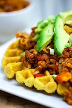 Cheesy Cornbread Waffles with Cauliflower Lentil Sloppy Joes