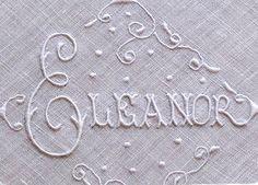 Em's Heart Antique Linens -Vintage Name Moniker Embroidered Linen Hanky