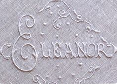 Em's Heart Antique Linens -Vintage Name Moniker Embroidered Linen Hanky