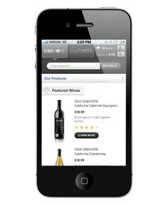 One Hope Wine Mobile - www.onehopewine.com #creativedesign #UI #mobileapp #onehopewine