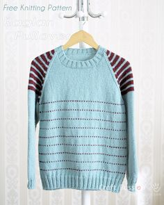 Get free knitting pattern of Raglan Pullover with stripes on shoulder. Sizes: 30, 36, 40, 44, 48 and 56 inch chest measurements, unisex, suit men & women.