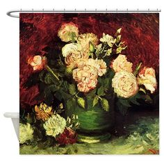 Van Gogh Roses And Peonies Shower Curtain