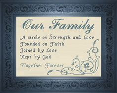 Our Family Poem Cross Stitch Design Cross Stitch Family, Cross Stitch Tree, Cross Stitch Borders, Cross Stitch Kits, Cross Stitch Designs, Cross Stitching, Cross Stitch Patterns, Learn Embroidery, Cross Stitch Embroidery