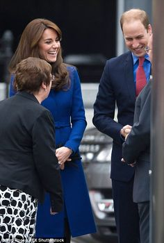 William was in cheery spirits as he joined his wife in Scotland...