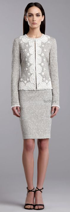 St. John Collection :: Speckled Tweed Jacket & Pencil Skirt